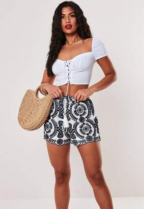 Missguided Navy Embroidered Crochet Shorts