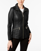 Anne Klein Petite Scuba Leather Jacket