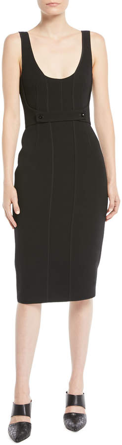 Narciso Rodriguez Twill Sleeveless Scoop-Neck Cocktail Dress