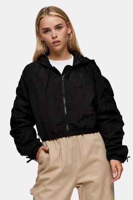 Topshop Womens Petite Black Nylon Jacket - Black