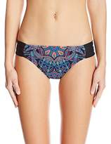 Kenneth Cole Reaction Women's Dream Weaver Shirred Sash Tab Bikini Bottom with Crystal Accents