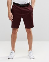 Asos Skinny Tailored Shorts In Burgundy Cotton Sateen