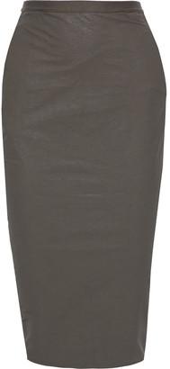 Rick Owens Soft Pillar Short Coated Linen-blend Twill Midi Pencil Skirt