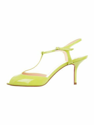 Christian Louboutin Patent Leather T-Strap Sandals Green