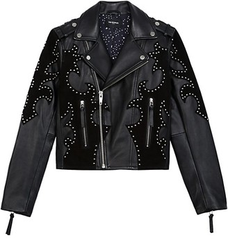 The Kooples Blouson Embroidered Leather Moto Jacket