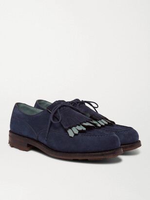 Leather-Trimmed Suede Kiltie Derby Shoes