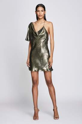 Cushnie Metallic Gold Silk Lame Asymmetric Mini Dress
