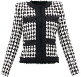 Balmain Houndstooth Cotton-blend Jacket - Womens - Black White
