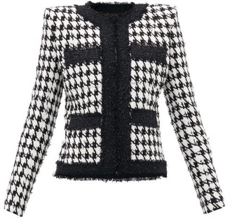Balmain Houndstooth Cotton-blend Jacket - Black White