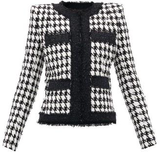 Balmain Houndstooth Cotton-blend Jacket - Womens - Black White