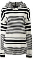 Lands' End Women's Petite Drop Shoulder Hoodie Top-Ivory/Black Stripe