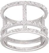 Italian Jewelry Collection Italian Silver Sterling Diamond Cut Triple Bar Ring