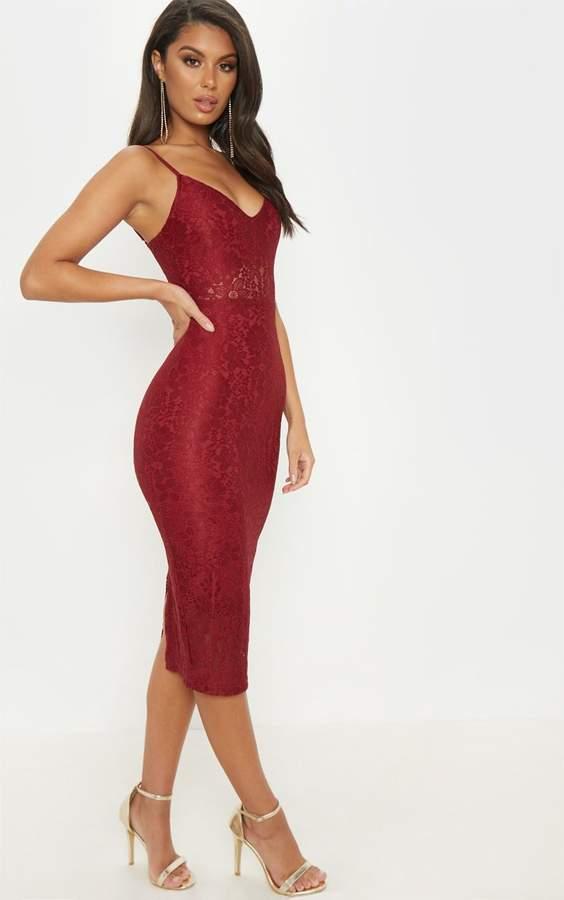 PrettyLittleThing Burgundy Lace Plunge Midi Dress