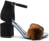 Alexander Wang Suede & Rabbit Fur Abby Heels