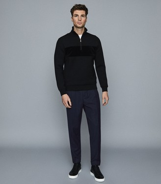 Reiss Sebastian - Textural Stripe Zip Neck Jumper in Black