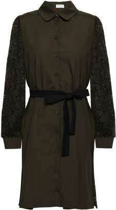 Claudie Pierlot Lace-paneled Cotton-poplin Mini Shirt Dress