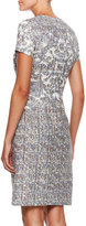 Escada Short-Sleeve Printed Dress, Sky