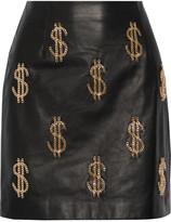 Moschino Embellished leather mini skirt
