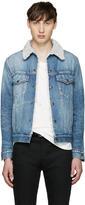 Saint Laurent Blue Denim Sherpa Jacket