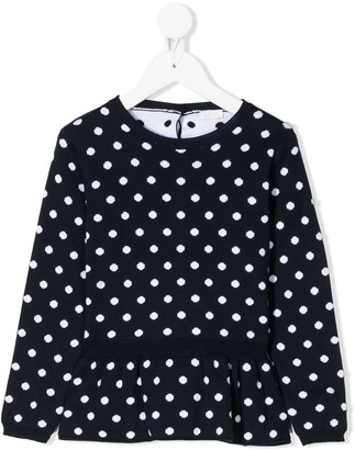Il Gufo Knitted Polka Dot Print Top