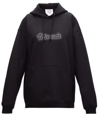 Vetements Crystal-logo Jersey Hooded Sweatshirt - Black