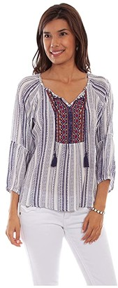 Scully Lily Light and Airy Peasant Top (Navy) Women's Clothing