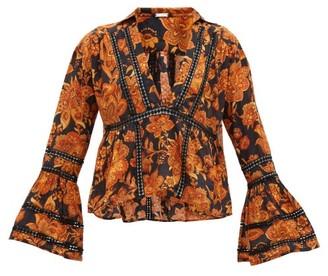 Dodo Bar Or Enid Floral-print Crochet-insert Cotton Shirt - Womens - Black Print
