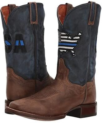 Dan Post Thin Blue Line (Sand/Blue Leather) Cowboy Boots