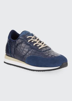 Giuseppe Zanotti Men's Braky Croc-Embossed Leather Sneakers
