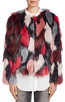 Oui Faux Fur Coat, Off White/Red