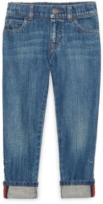 Gucci Little Boy's & Boy's Web-Trimmed Cuffed Jeans