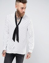 Asos Regular Fit Viscose Shirt With Revere Collar and Detachable Neck Scarf In Broken Heart Print