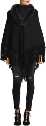 La Fiorentina Fox Fur Collared Fringe Wrap