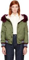 Miu Miu Green Satin and Fur Bomber Jacket