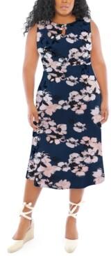 London Times Plus Size Floral-Print Midi Dress