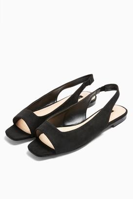 Topshop ANNIE Black Square Peep Slingback Shoes