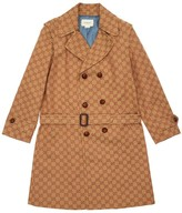 Gucci All Over Logo Cotton Canvas Trench Coat