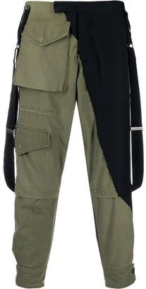 Greg Lauren Mixed-Panel Suspender Cargo Trousers