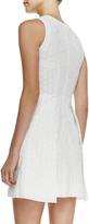 Victoria Beckham Denim Sleeveless Eyelet Overlap-Skirt Dress