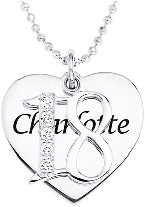 The Love Silver Collection Personalised Sterling Silver Coming of Age Cubic Zirconia Set Pendant