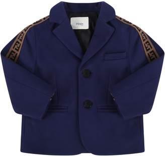 Fendi Blue Babyboy Jacket With Black Iconic Ff