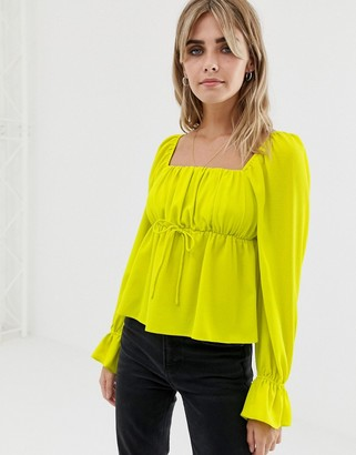 Asos DESIGN long sleeve square neck blouse in neon