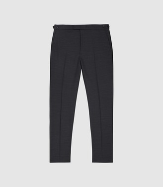 Reiss Purdue - Wool Blend Slim Fit Trousers in Charcoal