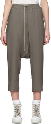 Rick Owens Grey Crepe Cropped Lounge Pants