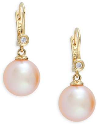 Tara Pearls 14K Yellow Gold, 10-11MM Round Freshwater Pearl Diamond Drop Earrings