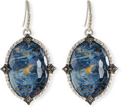 Armenta New World Blue Pietersite Earrings with Diamonds