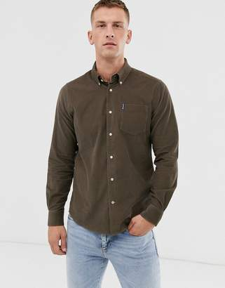 Barbour slim fit long sleeve cord shirt in tan