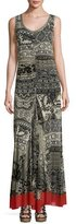 Fuzzi Sleeveless Lace-Print Maxi Dress, Black Pattern
