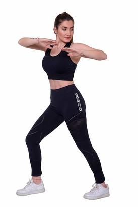 Arnold Gym Women Core+ Seamless Sports Bra & High Waisted Black Suit Set Active Leggings (M 12)