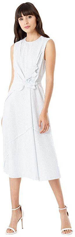 Jason Wu Sleeveless Asymmetric Ruffle Dress (Star White/Capri Blue) Women's Clothing